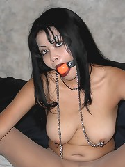 Asian milf nipple chained and..